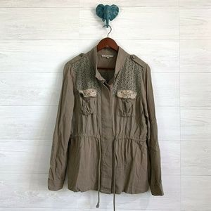 Miss Me Khaki Olive Green Eyelet Shirt Jacket